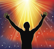 Spiritual joy. A man with arms raised to heaven. Conceptual illustration with many religious or secular interpretations Royalty Free Stock Photography