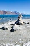 Spiritual Lake. Tibetian Player Flags at Pangong Lake Royalty Free Stock Photo