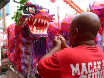 Spiritual leader. Blessed the mask dragon and lions in the city of Solo, Central Java, Indonesia Stock Images