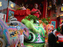 Spiritual leader. Blessed the mask dragon and lions in the city of Solo, Central Java, Indonesia Stock Image