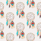 Spiritual and magic dreamcatcher seamless pattern Stock Photos