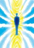 Spiritual man. Illustration of human figure and spiritual aura Stock Images