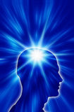Spiritual man. Silhouette of head over blue background with white star Royalty Free Stock Image