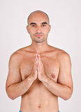 Spiritual man praying and meditating. Stock Images