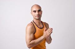 Spiritual man praying and meditating. Royalty Free Stock Images