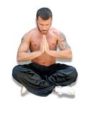 Spiritual Martial Arts. Martial arts fighter meditating before the fight Royalty Free Stock Photography