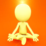 Spiritual meditation. Concept, 3d person on white background sitting in meditating position with light on head Royalty Free Stock Photo