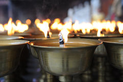 Spiritual oil lamps in temple. For meditation, consciousness Stock Images