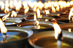 Spiritual oil lamps in temple. For meditation, consciousness Royalty Free Stock Images