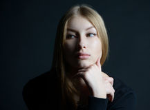 Spiritual portrait of the Russian beautiful girl with long hair Royalty Free Stock Photo