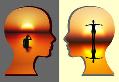 Spiritual Renewal of Woman. Concept sign for the spiritual renewing of the mind vector illustration