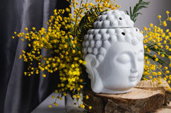 Spiritual ritual meditation face of Buddha on wood, home decor, mimosa yellow spring flowers Royalty Free Stock Images