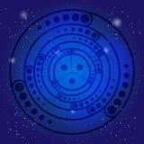 Spiritual sacred symbol on the deep blue cosmic sky. Sacral geometry in universe. Stock Photo