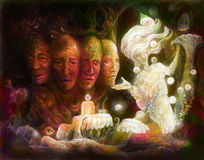 Spiritual sacred tree of four faces, fantasy colorful painting collage Stock Photos