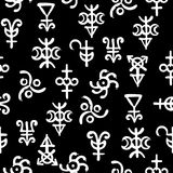 Spiritual texture, seamless background pattern with occult alchemical runes and symbols. Spiritual texture, seamless background on the fantasy old manuscript stock illustration