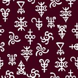 Spiritual texture, seamless background pattern with occult alchemical runes and symbols. Spiritual texture, seamless background on the fantasy old manuscript royalty free illustration