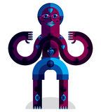Spiritual totem vector illustration, meditation theme drawing. A Royalty Free Stock Image