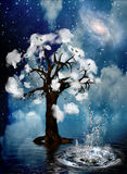 Spiritual Tree. Tree surrounded by clouds with water splash Royalty Free Stock Photos