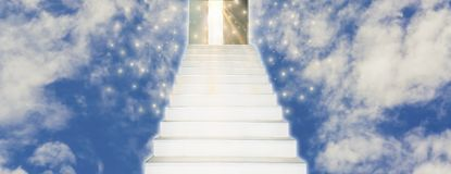 Spiritual Walk to Heaven With stairs leading straight into door. Of God,concept of spirit and belief in eternal truth, for Web banner horizontal panoramic style stock photos