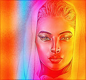 A spiritual woman's face close up with a veil with a colorful abstract gradient effect Royalty Free Stock Photos
