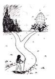 Spiritualité - les deux chemins (2007) illustration de vecteur