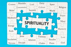 Spirituality concept. Words on group of jigsaw puzzle pieces Royalty Free Stock Photography
