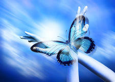 Spirituality Hands Butterfly Freedom Psychology. A conceptual image exploring spirituality and personal growth with a butterfly and pair of hands Stock Photos