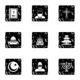 Spirituality icons set, grunge style Royalty Free Stock Images