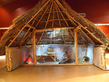 Spiro Mounds Archaeological Center indoor replica of hut Stock Images
