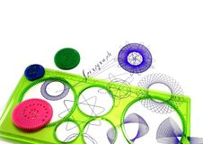 Spirograph and geometric pattern. On a white background Stock Photo