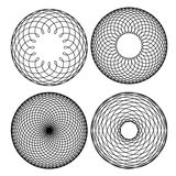 Spirograph patterns. A set of four spirograph patterns on a white background Stock Images