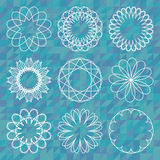 Spirograph round ornament set over polygonal background Stock Photography