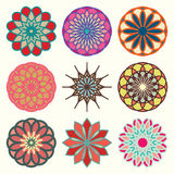 Spirograph various forms and colors  vector set Stock Photo