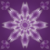 Spirograph in white outline with gradient on purple background, lace patterns, design element, gorgeous symmetric. Geometric mandala, vector EPS 10 Stock Photography