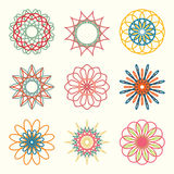 Spirograph wireframe various forms and colors isolated set Royalty Free Stock Photo