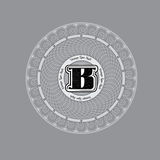 Spirographic Monogram Design Template with capital letter B in center Royalty Free Stock Images