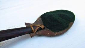 Spirulina в бамбуковой ложке на белой предпосылке стоковое фото rf