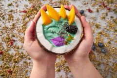 Spirulina bowl smoothie in coconut blackberry mango. And chia seeds Stock Images