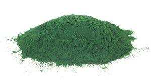 Spirulina. Powder algae isolated on white background Royalty Free Stock Photo