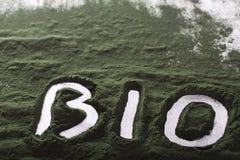 """Spirulina ruw poeder op witte †""""inschrijving als achtergrond bio Royalty-vrije Stock Afbeeldingen"""