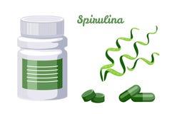 Spirulina-Satz Flasche Pillen, Kapseln und Tabletten lizenzfreie abbildung
