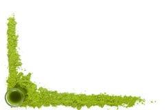 Spirulina, wheat grass and chlorella background. Stock Photo