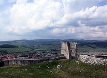 Spis castle. The outer walls of Spis castle in Slovakia stock photography