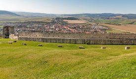 Spis Castle courtyard with view over city in Slovakia. stock images
