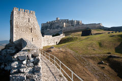 Spis castle from inside, Slovakia. Lower courtyard of Spis castle, Slovakia royalty free stock photos