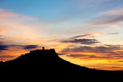 Spis castle at night, Slovakia. Silhouette of Spis castle at dusk in Slovakia stock photos