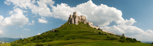 Spis castle panorama, Spišské Podhradie. Spis castle panorama view from flield stock photo