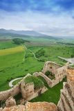 Spis castle ruins and Tatra mountains. Panorama of Spis castle ruins on the north of Slovak republic from the tower and mountains on background stock photo