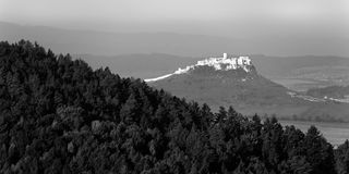 Spis castle, Slovakia. Ancient Spis castle in black and white, Slovakia royalty free stock photo