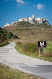 Spis castle, Slovakia. Road leading to Spis castle, Slovakia stock images